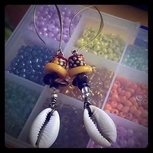 Cowrie Shell, Tiger's Eye,Krobo and brass Earrings